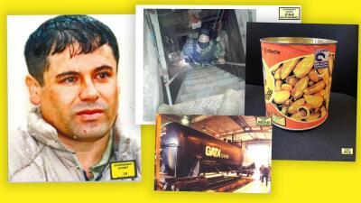 Túneles, latas de chiles y pistolas con diamantes: 22 fotografías que probaron los crímenes de 'El Chapo' y lo enviaron a la cárcel de por vida