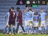 Manchester City vence al Wolverhampton y suma 21 victorias consecutivas