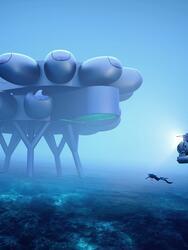 Vista completa de la estación Proteus Fabien Cousteau (Diseño conceptual de Yves Béhar y Fuseproject).