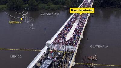 Así son los 610 metros del paso fronterizo entre Guatemala y México que desbordaron miles de migrantes