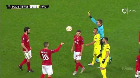 Tarjeta amarilla. El árbitro amonesta a Georgi Dzhikiya de Spartak Moscow