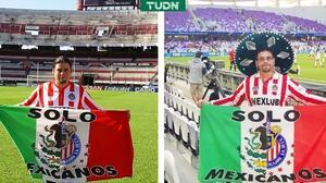 Retiran a fan de Chivas por festejar un gol... ¡con una bandera!