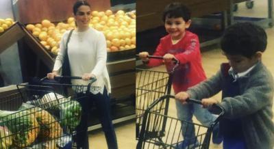 ¿De compras con mamá? Bibi Gaytán se divierte con sus mellizos hasta en el supermercado