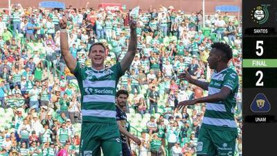 Santos cerró la fase regular del torneo con tremenda goliza a los Pumas
