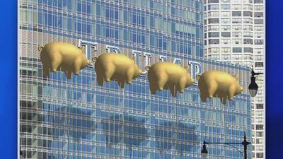 Proponen tapar el logo de la Torre Trump en Chicago con cuatro globos de cerdos dorados