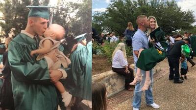 Fotografías de graduación de padre e hija con 18 años de diferencia se hacen virales