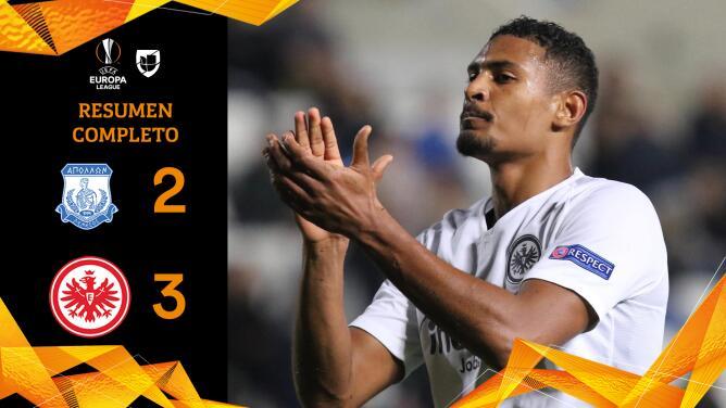 Apollon 2-3 Frankfurt - GOLES Y RESUMEN - Grupo H - UEFA Europa League