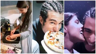 Danilo Carrera se burla de la pizza que Michelle Renaud le preparó y ella 'se venga' de él mordiéndolo