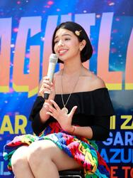 """LOS ANGELES, CALIFORNIA - MAY 05: Ángela Aguilar speaks during the """"Jaripeo Sin Fronteras 2021"""" press conference at Staples Center on May 05, 2021 in Los Angeles, California. (Photo by Emma McIntyre/Getty Images)"""