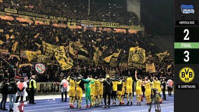 El Dortmund mantiene la cima de la Bundesliga tras remontar al Hertha de último minuto