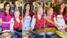 Lo necesitaba: Biby Gaytán intentaba hacer paella con su suegra cuando llegó su papá y en público la regañó