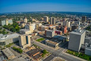 Aerial,View,Of,Topeka,,Kansas,Skyline,In,The,Morning