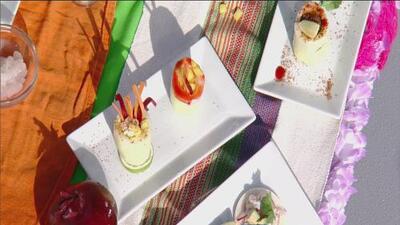 El Chef Emilio Domínguez preparó unas deliciosas tostadas de jícama con camarón