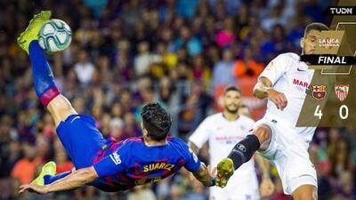 Barça golea a Sevilla; Chicharito deja a los culés con nueve