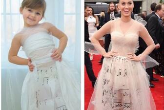 niña y su madre recrean vestidos de famosos