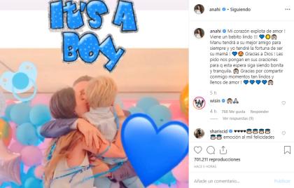 """"""" <b><a href=""""https://www.instagram.com/p/B4nKspLHKFJ/"""" target=""""_blank"""">Es un niño""""</a></b>, se puede leer en la animación que publicó en su cuenta. También compartió que el nuevo bebé  <b><a href=""""https://www.univision.com/famosos/anahi-no-fue-quien-escogio-el-nombre-de-su-segundo-hijo-tampoco-su-esposo-manuel-velasco-fotos"""">se llamará Emiliano</a></b>."""