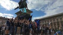 Una fiesta: Seguidores del Inter de Milán celebran título de la Serie A