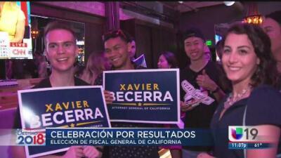 Xavier Becerra celebra en Sacramento su paso a las elecciones de noviembre para mantener su cargo