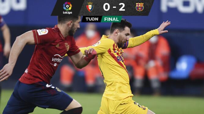 Barcelona se mantiene en la lucha tras vencer de visita al Osasuna