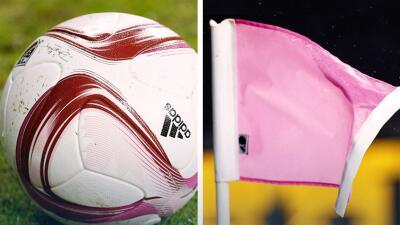 Creando conciencia sobre el cáncer de mama: pelotas rosa, banderines rosa y redes rosa