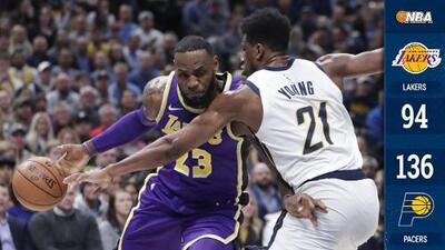 LeBron James supera 32 mil puntos en la NBA, pero los Lakers son apaleados por los Pacers