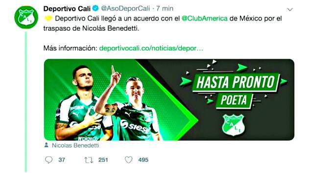 """Hasta pronto, Poeta"": la despedida del Cali a Nicolás Benedetti, quien viaja rumbo a CDMX"