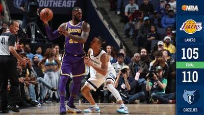 Lakers caen ante Memphis pese a enorme actuación de LeBron con un triple doble