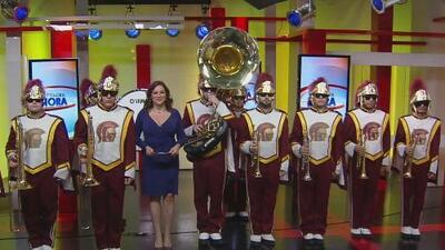 La banda de música de USC está lista para el Desfile de las Rosas
