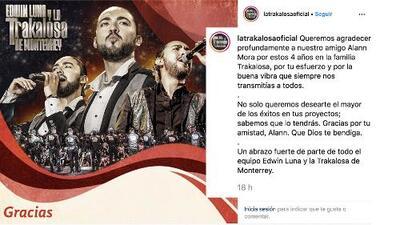 En medio de especulaciones, confirman salida de Alann Mora de La Trakalosa de Monterrey