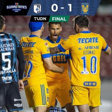 Tigres vuelve a puestos de repechaje tras vencer 0-1 al Querétaro