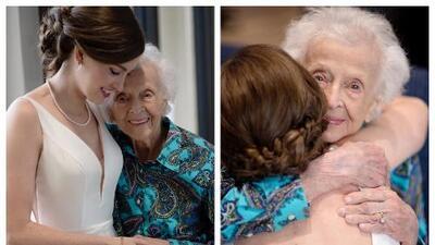 Una novia sorprende a su abuela de 103 años que no pudo ir a su boda