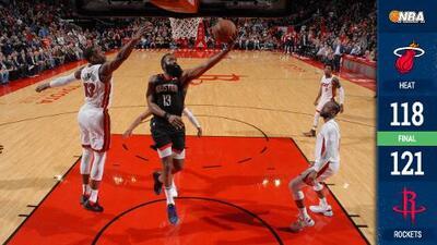 Harden vuelve a verse aplastante con 58 puntos y los Rockets doblegan al Heat