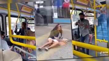 Pasajeros se enfrentan por el uso de mascarilla en el transporte público: ella lo escupe y él la empuja echándola del autobús
