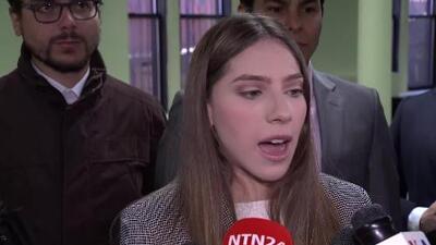 Fabiana Rosales, esposa del presidente interino de Venezuela Juan Guaidó, habla con la diáspora venezolana y la prensa en Nueva York