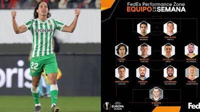 ¡Lainez apenas debutó en la Europa League y se coló al 11 ideal de la jornada!