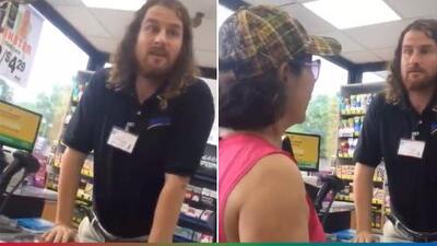 (Video) Estadounidense se pone al tú por tú con un cajero que insultaba a mujer por hablar español