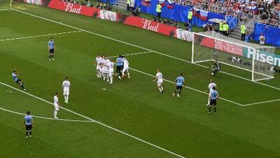 Los dos goles con los que Uruguay vence a Rusia y se impone en el primer lugar del grupo A