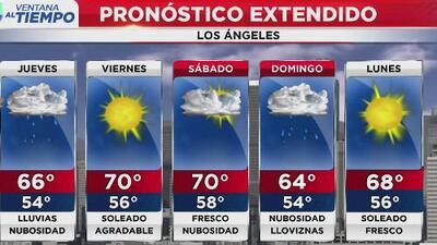 Se esperan lluvias, vientos y posibilidad de nieve en las zonas montañosas de los Ángeles para la mañana del jueves