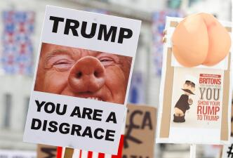 """""""Trump, eres una desgracia"""": los carteles de la masiva protesta contra Donald Trump en Londres"""