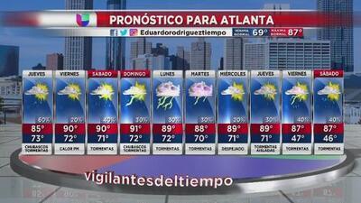 Pronostican calor y lluvias aisladas para este jueves en Atlanta