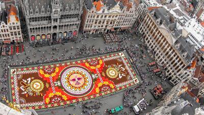 Una alfombra de flores inspirada en Guanajuato viste el centro de Bruselas (fotos)