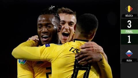 Bélgica 3-1 Rusia - GOLES Y RESUMEN - ELIMINATORIAS  - Eurocopa 2020