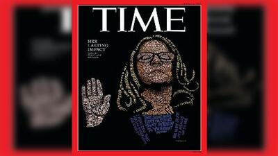 Portada del Time destaca el rostro Christine Ford hecho con palabras de su testimonio ante el Senado