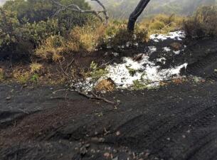Nieve sobre las cenizas volcánicas de Hawaii: corriente de aire frío golpea el Pacífico