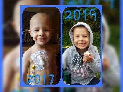 Weston Newswanger fue diagnosticado con rabdomiosarcoma en noviembre de 2016. Su tumor crecía a través de la pared de la vejiga, empujando su colon.