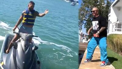 """""""El parcerito empezó"""": Maluma visitó en moto acuática a J Balvin y Llane quiso 'amarrar navajas'"""
