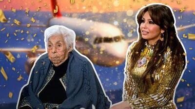 A la abuelita de Thalía le siguen celebrando sus 100 años y esta vez fue en un avión