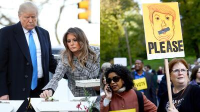 En fotos: Pittsburgh protesta por la visita de Trump a la sinagoga donde murieron acribilladas 11 personas