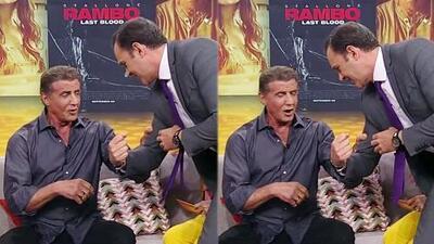 A 'Rambo' casi se le rompe un dedo con los músculos de Alan Tacher: mira la graciosa reacción de Sylvester Stallone