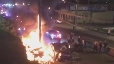 Una persona quemada tras el incendio de un vehículo durante una persecución policial en Jersey City